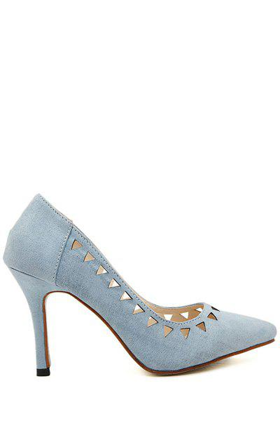 Graceful Pointed Toe and Hollow Out Design Women's Pumps - BLUE 35
