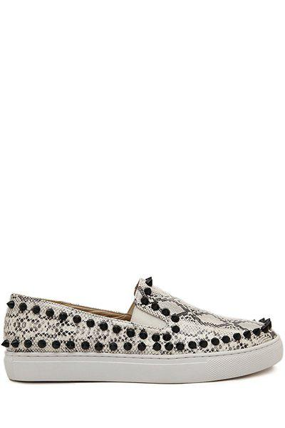 Fashionable Snake Print and Rivets Design Women's Flat Shoes - SILVER GRAY 35