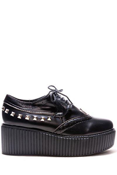 Stylish Lace-Up and Rivets Design Women's Platform Shoes
