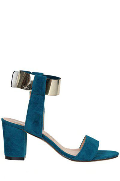 Elegant Chunky Heel and Suede Design Women's Sandals - BLUE 36