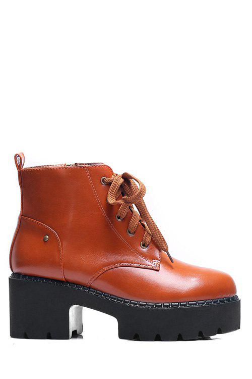 Simple Style PU Leather and Chunky Heel Design Women's Ankle Boots - BROWN 37