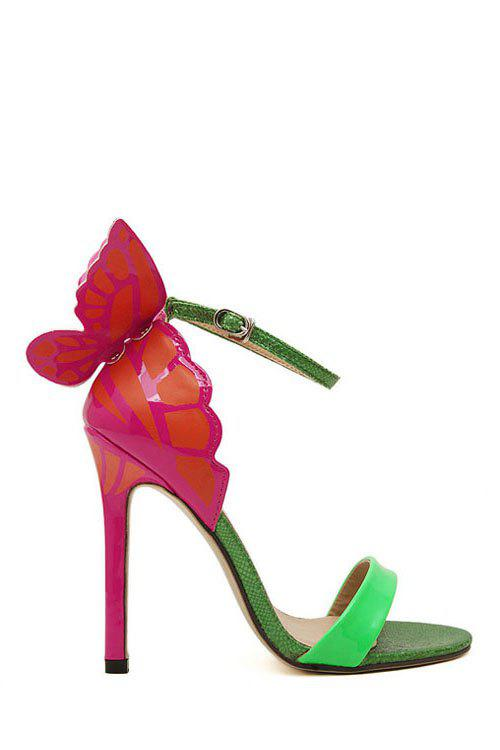 Elegant Color Block and Butterfly Design Women's Sandals - GREEN 35