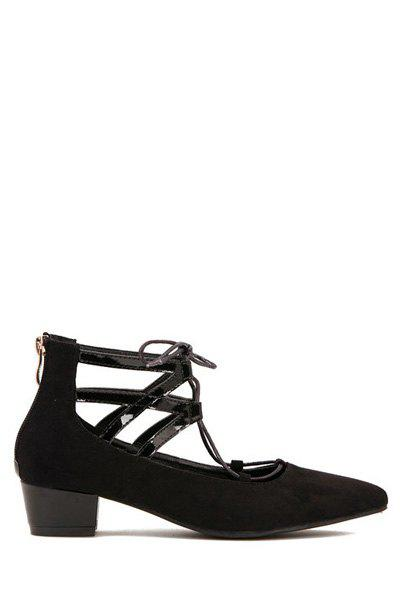Sexy Lace-Up and Hollow Out Design Women's Pumps - BLACK 35