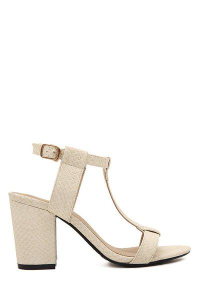 Sweet Chunky Heel and T-Strap Design Women's Sandals - APRICOT 35