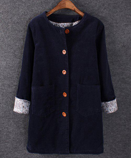 Casual Style Round Neck Solid Color Corduroy Long Sleeve Coat For Women - PURPLISH BLUE ONE SIZE(FIT SIZE XS TO M)