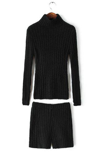 Simple Solid Color Turtleneck Long Sleeve Sweater and Elastic Waist Shorts Twinset For Women - BLACK ONE SIZE(FIT SIZE XS TO M)