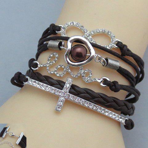 Rhinestone Bead Letter Infinty Cross Friendship Bracelet - BLACK