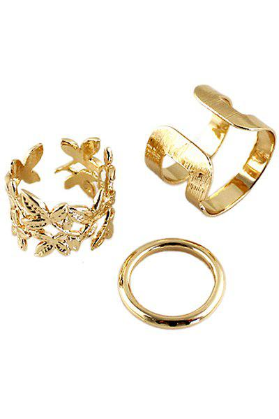 3PCS Solid Color Rings - GOLDEN ONE-SIZE