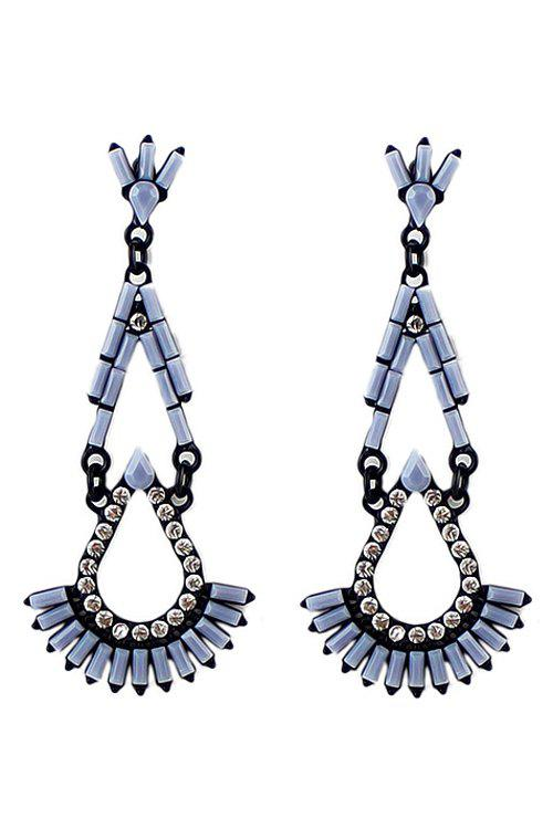 Pair of Faux Gem Drop Earring - GRAY