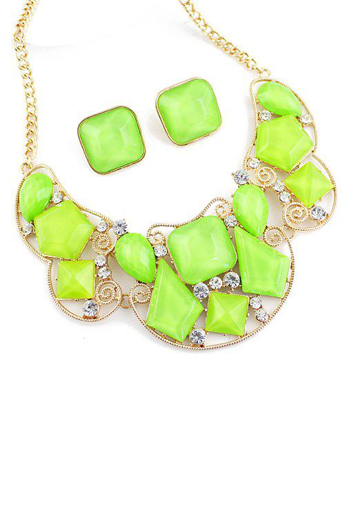 Faux Gem Necklace and Pair of Faux Gem Earrings - GREEN
