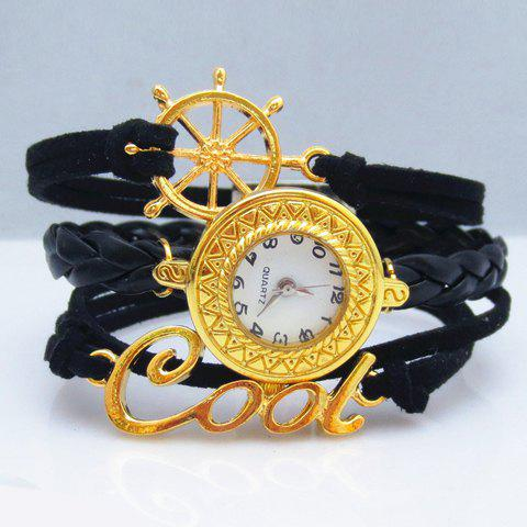 Fashion Chic Women's Rudder Letter Decorated Friendship Bracelet Watch - BLACK