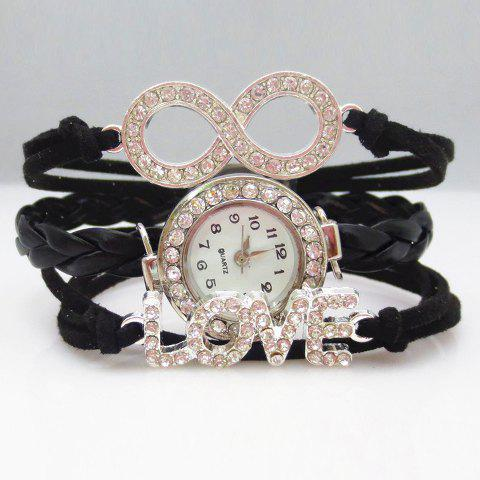 Fashion Chic Women's Letter Eight Rhinestone Friendship Bracelet Watch