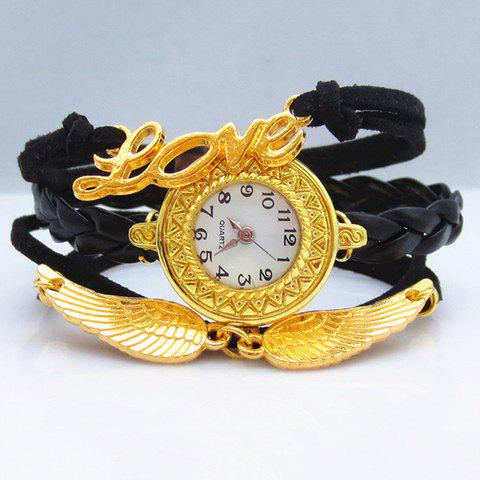 Chic Fashion Women's Letter Wings Layered Friendship Bracelet Watch -  BLACK/GOLDEN