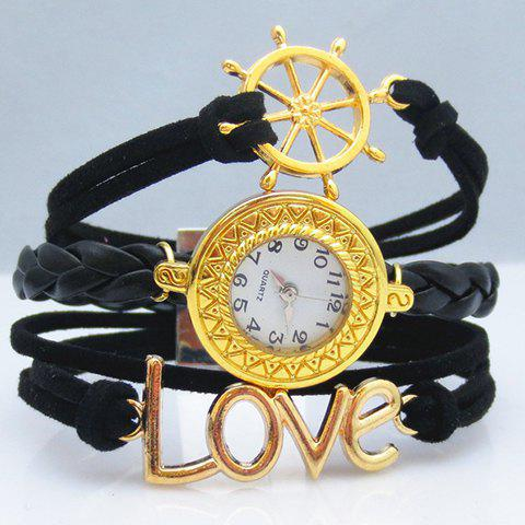 Chic Fashion Women's Letter Rudder Layered Friendship Bracelet Watch - BLACK