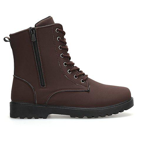 Concise Style Lace-Up and Solid Color Design Boots For Men - DEEP BROWN 44