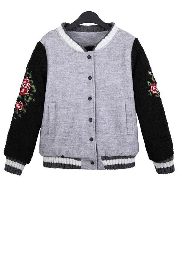 Stylish Stand Collar Long Sleeve Floral Embroidery Color Block Women's Jacket - GRAY ONE SIZE(FIT SIZE XS TO M)
