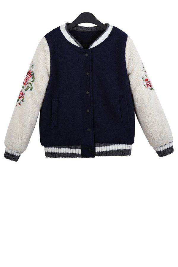 Stylish Stand Collar Long Sleeve Floral Embroidery Color Block Women's Jacket - DEEP BLUE ONE SIZE(FIT SIZE XS TO M)