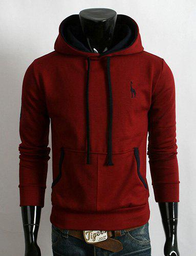 Trendy Hooded Fawn Embroidery Slimming Color Block Purfle Long Sleeves Men's Thicken Hoodie - WINE RED XL