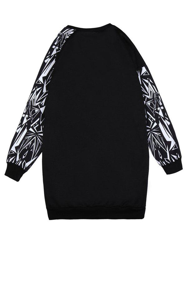 Fashionable Round Collar Long Sleeve Letter Print Women's Sweatshirt - BLACK ONE SIZE(FIT SIZE XS TO M)