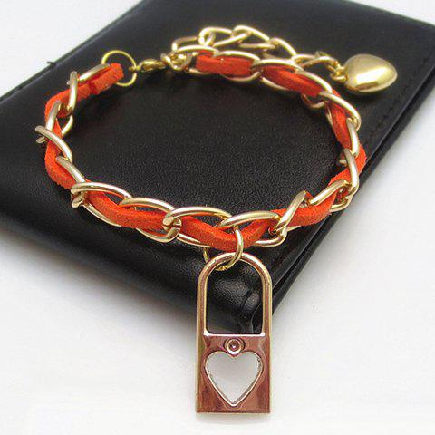 Attractive Lock Shape Pendant Women's Bracelet - COLOR ASSORTED