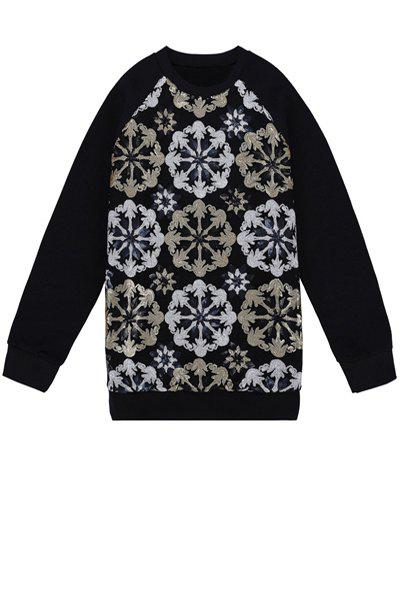 Stylish Round Collar Long Sleeve Sequins Flower Pattern Splicing Women's Sweatshirt - BLACK ONE SIZE(FIT SIZE XS TO M)