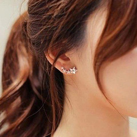 Pair of Rhinestone Star EarringsJewelry<br><br><br>Color: GOLDEN