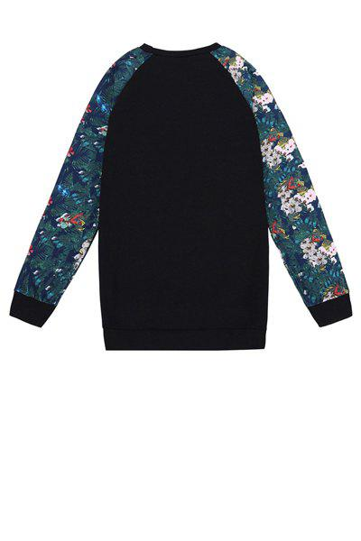Stylish Round Collar Long Sleeve Number Pattern Floral Print Splicing Women's Sweatshirt - BLACK ONE SIZE(FIT SIZE XS TO M)
