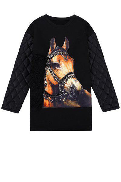 Stylish Round Collar Long Sleeve Horse Pattern Chain Embellished Women's Sweatshirt - BLACK ONE SIZE(FIT SIZE XS TO M)