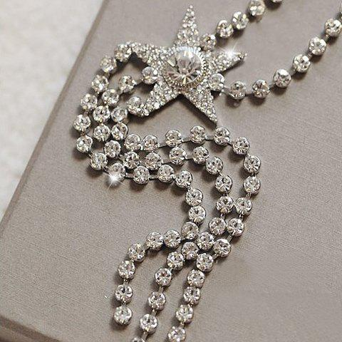 Fashion Women's Rhinestone Tassel Star Necklace