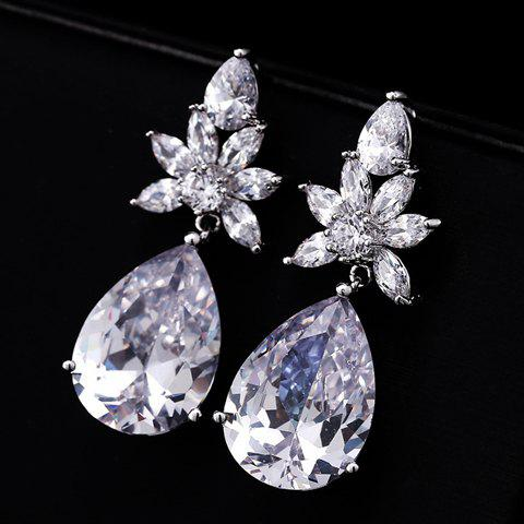Pair of Stunning Gemstone Embellished Waterdrop Shape Earrings For Women - WHITE GOLDEN