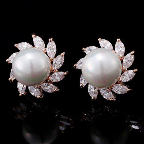 Pair of Stunning Faux Pearl Embellished Women's Earrings - ROSE GOLD