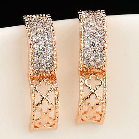 Pair of Rhinestone Special Shape Earrings - ROSE GOLD