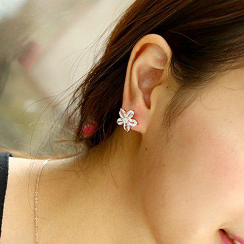 Pair of Classic Sweet Women's Faux Crystal Flower Earrings - ROSE GOLD