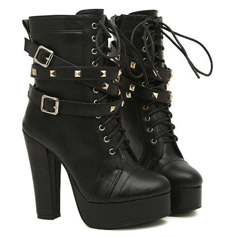 Fashion Buckles and Rivets Design Chunky Heel Short Boots For Women - BLACK 37
