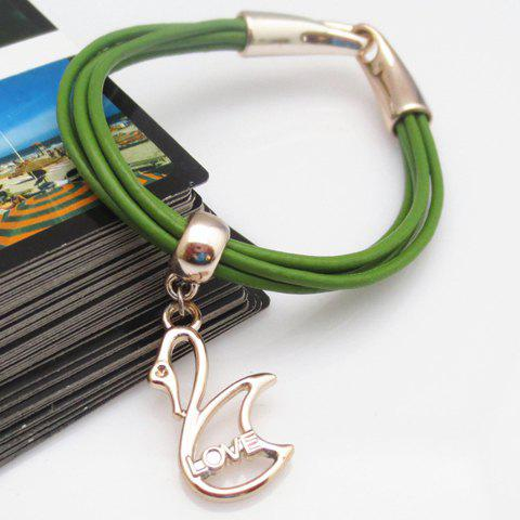 Swan Shape Pendant Love Charm Bracelet - COLOR ASSORTED