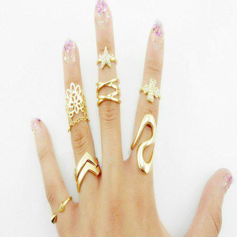 7PCS Cute Women's Star Leaf Rings