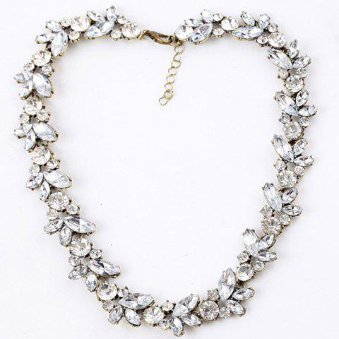 Rhinestone Leaves Pendant Necklace - AS THE PICTURE