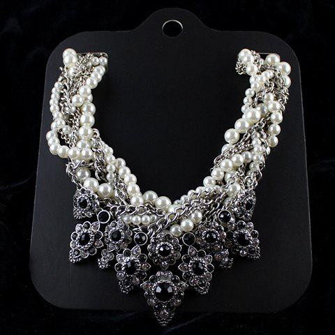 Sweet Noble Women's Faux Pearl Rhinestone Pendant Necklace - AS THE PICTURE