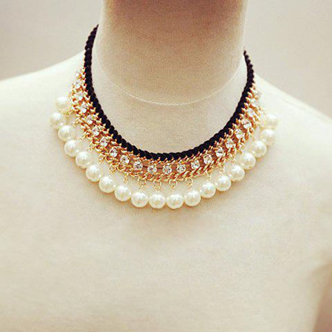 Luxurious Women's Rhinestone Faux Pearl Decorated Pendant Necklace