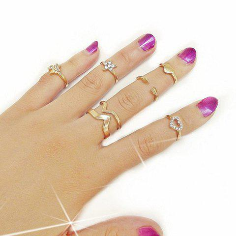 6PCS Rhinestone Star Heart Rings - GOLDEN ONE-SIZE