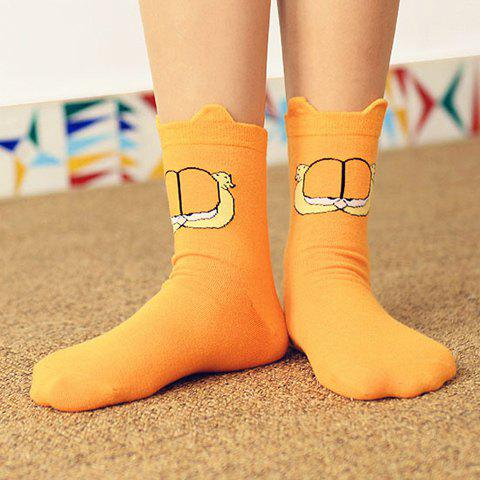 Pair of Cute Cartoon Animal Pattern Cotton Socks For Women - AS THE PICTURE