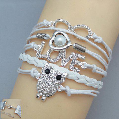 Graceful Multi-Layered Owl Shape Women's Friendship Bracelet - WHITE