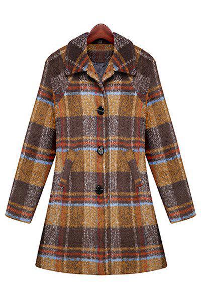 Elegant Turn-Down Collar Plaid Single-Breasted Long Sleeve Worsted Coat For Women