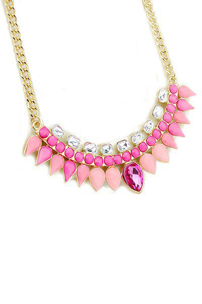 Faux Gemstone Waterdrop Necklace - PINK