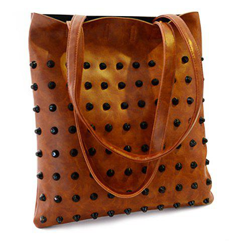 Punk Rivet Shoulder Bag - LIGHT BROWN