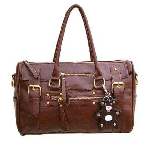 Stylish Buckle and Zipper Design Tote Bag For Women - COFFEE