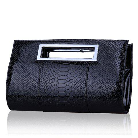 Gorgeous Patent Leather and Crocodile Print Design Clutch Bag For Women - BLACK