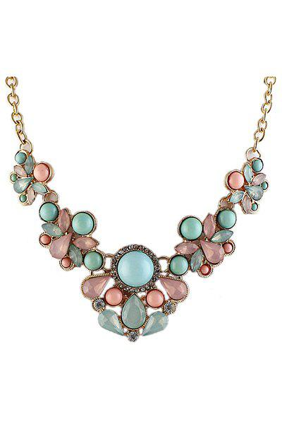 faux gemstone decorated pendant necklace as the picture