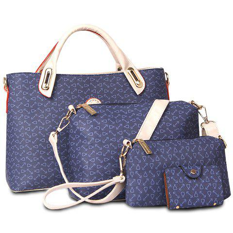 Gorgeous Floral Print and Metallic Design Tote Bag For Women -  DEEP BLUE