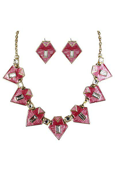 Triangle Shape Necklace and A Pair of Earrings
